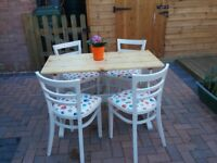 Refurbished Small Pine Dining Table with four Chairs