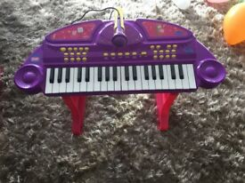 Peppa Pig keyboard with microphone and stand.