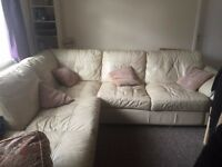 URGENT!! Cream Leather Corner Sofa for SALE!!