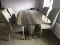 Marble top dining table and 4 chairs
