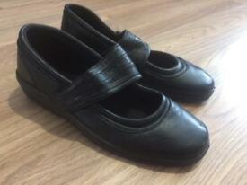 Brand New Black Woman Ladies Slip On Shoes With Strap Size 7 Leather Hobos