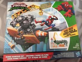 Brand new spider man rhino playset
