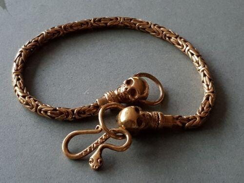 AMAZING ANTIQUE GOLD PLATED MEMENTO MORI & skulls & snake SILVER Bracelet RARE
