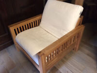 Beautiful Single solid Oak bed frame by Futon company with mattress and washable cover, rrp £679