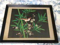 Vintage Oriental paintings on Silk. Qty.2.