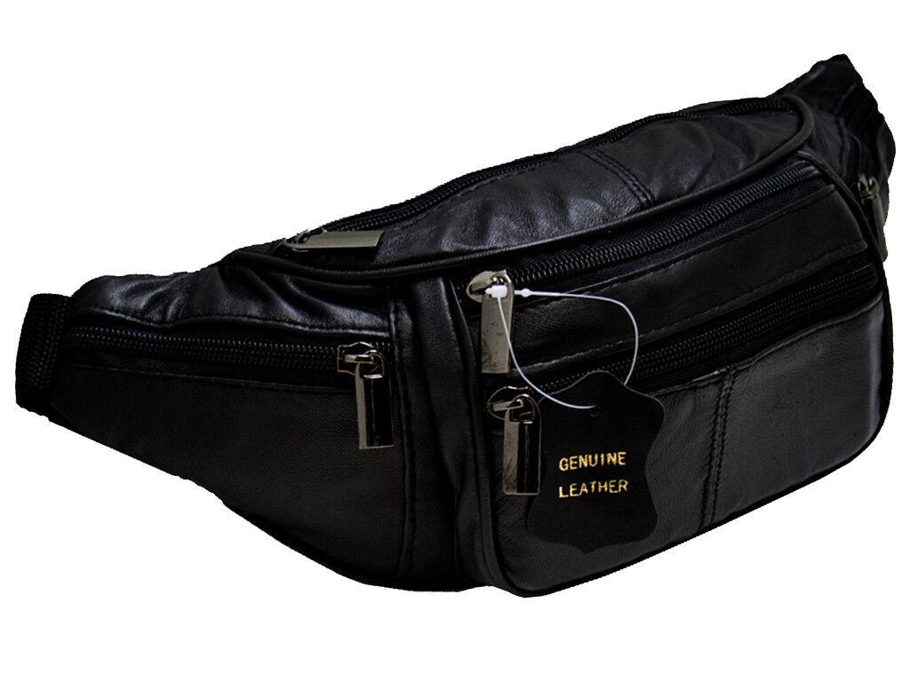Bauchtasche in Echt Leder mit 6x Rv Fächer Schwarz Umhängetasche Gürteltasche GL