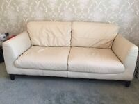 Cream leather 2 seater sofa for sale