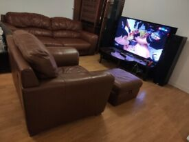 REAL LEATHER 4 SEATS SOFA WITH DOUBLE ARMCHAIR AND POUFFE