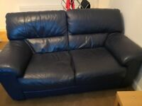 Large 2 seater leather sofa and armchair