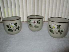 Three made in Korea decorative round glazed bowls H 10cms, Top diameter 10cms mint unused condition.
