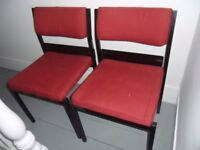 9 x MODERN CHURCH CHAIRS - Each one is stackable with wooden prayer book holder in back of chair