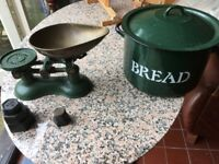 Traditional cast iron enamelled weighing scales and bread bin