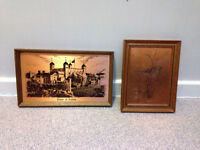 2 vintage framed coppercraft etchings of Tower of London and Willow Warbler