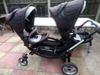 O'baby ABC Design Zoom Tandem Pushchair Travel System Double Stroller Complete Bundle and compact
