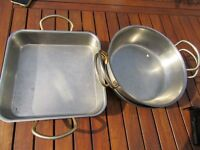 3 Stainless steel dishes