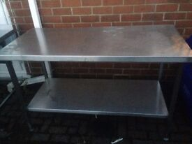 Stainless Steel Table /Bench 150 cm wide,70 cm front to back ,90 cm high ,excellent condition