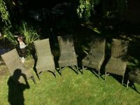 6 Garden Green Wicker Chairs. OK for the Garden or in a Conservatory. Originally cost £50 each.