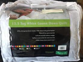Brand new 13.5 tog goose down single duvet