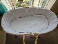 mothercare baby bassinet on wooden rocking stand