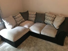 Black and grey left hand corner settee