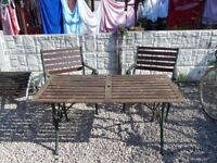 Bench ends / garden furniture / outdoor / table and chairs / cast iron vintage garden set / patio