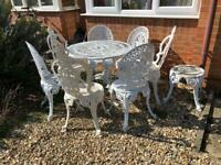 Vintage Victorian Aluminium Metal cast iron garden set table 7 chairs & stool