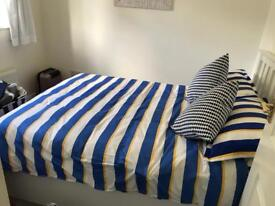 Brand new bedding double quilt cover and four pillow cases nautical blue and gold