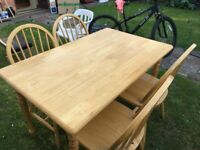 4 chairs and Dinning table total £35.