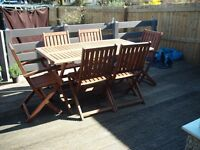 HARDWOOD GARDEN PATIO TABLE AND 6 CHAIRS BY FSC LOVELY SET