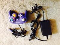 GameCube controller and power cord