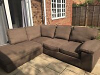BROWN FABRIC CORNER SOFA - ONLY 18 MONTHS OLD - MUST GO ASAP - CHEAP DELVERY - £295