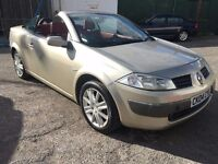 Renault Megane Dynamique Convertible, 2.0, 04/04 Reg, BRAND NEW MOT, S/His, Red Leather, 2 Dr , Gold