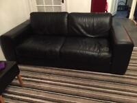 Black leather sofa and chair from John Lewis