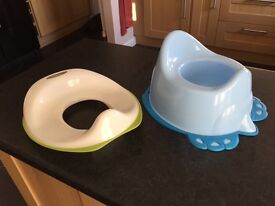 Toilet Seat and Blue Potty