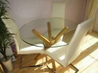 Oak Cross Leg Glass Top Table & 3 Quatropi High Back Cantilever Chairs - Excellent Condition
