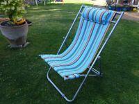 3 positioned - metal framed folding garden deckchair in VGC. Sunny blue strips