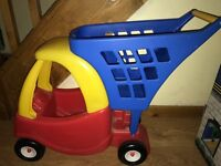 Little Tikes Cozy Coupe kids shopping trolley, red, yellow and blue, good condition