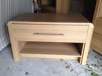 EXTREMELY USEFUL COFFEE OR SIDE TABLE WITH LARGE DRAWER AND SHELF IN LIGHT WOOD VENEER