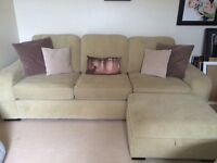 DFS green large 3 seater sofa, footstool and swivel cuddle chair