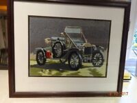 """Model T Ford - tapestry picture - Mounted and framed - size 24 ½ """" x 18 """" - £5.00 ono"""