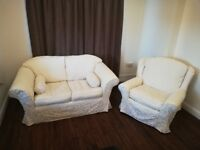Lovely washable white/cream 2 seater sofa and chair suite