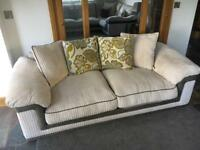 Furniture village 3 seater sofa with matching footstool l