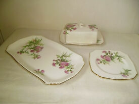 ROYAL WINTON BUTTER DISH & 2 PLATES,FROM 1950'S,THISTLE DESIGN