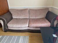 DFS 3 Seater & 2 Seater Dark Brown/Beige Fabric Sofa