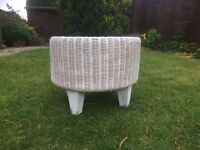 Footstool Cane Furniture Wicker Stool Bedroom Conservatory Shabby Chic Contemporary Table £8