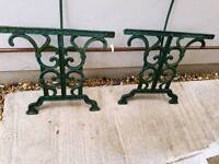 Garden table ends cast iron ornate
