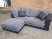 Cute BRAND NEW black and grey cord corner sofa.small mark to the side. can deliver