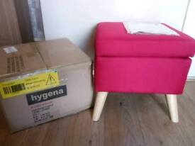 Brand new hygena red lexie storage footstool RRP £89