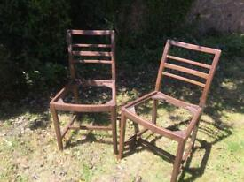 PAIR OF VINTAGE ERCOL DARK WOODEN LIKELY ELM LADDER BACK DINING CHAIRS FOR REFURB UPCYCLE