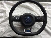 BRAND NEW VW GOLF MK7 T5 T6 MULTI FUNCTION FLAT BOTTOM STEERING WHEEL & AIRBAG
